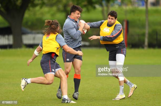 Dan Bibby and Oliver LidsayHague tackle Jordan Ainsley during an England Rugby Sevens Media Access day at The Lensbury on May 2 2017 in Teddington...