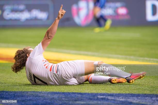 Dan Bibby celebrates after scoring a try against South Africa in the Cup Final on day 2 of the 2017 Canada Sevens Rugby Tournament on March 12 2017...