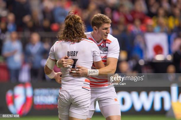 Dan Bibby is congratulated by Ruaridh McConnochie of England after scoring a try against South Africa in the Cup Final on day 2 of the 2017 Canada...