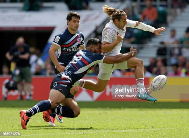 Dan Bibby of England and Martin Iosefo of USA of France during the HSBC London Sevens at Twickenham Stadium on June 2 2018 in London United Kingdom