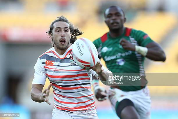 Dan Bibby of England chases the ball in the match between England and Kenya during the 2017 Wellington Sevens at Westpac Stadium on January 28 2017...