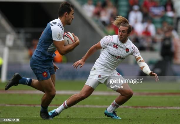 Dan Bibby of England during HSBC World Rugby Sevens Series Pool C match between England against France at Twickenham stadium London on 2 June 2018