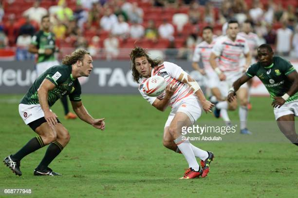 Dan Bibby of England in action during the 2017 Singapore Sevens match between South Africa and England at National Stadium on April 15 2017 in...