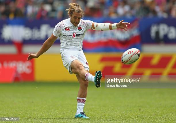 Dan Bibby of England kicks a conversion during the Cup semi final match between England and Canada during the HSBC Paris Sevens at Stade Jean Bouin...