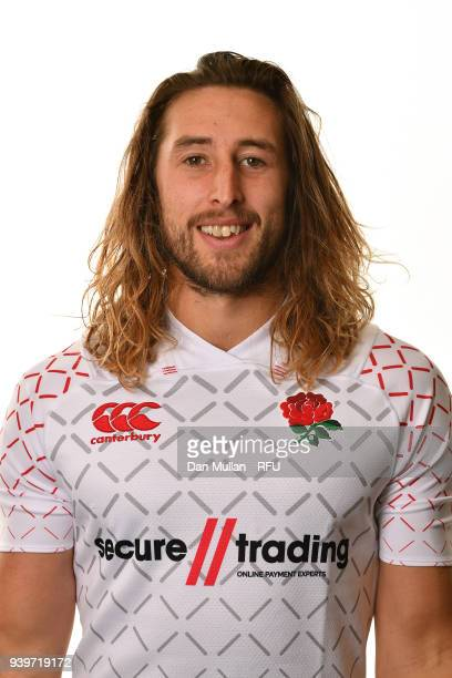 Dan Bibby of England poses for a portrait during the England Sevens Squad Photocall at Twickenham Stadium on March 22 2018 in London England