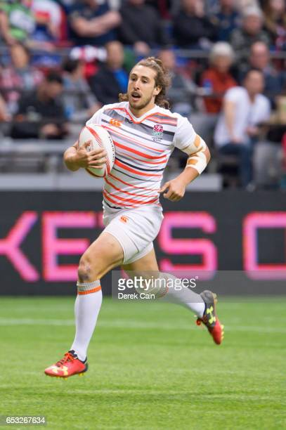 Dan Bibby of England runs with the ball against Fiji during day 2 of the 2017 Canada Sevens Rugby Tournament on March 12 2017 in Vancouver British...
