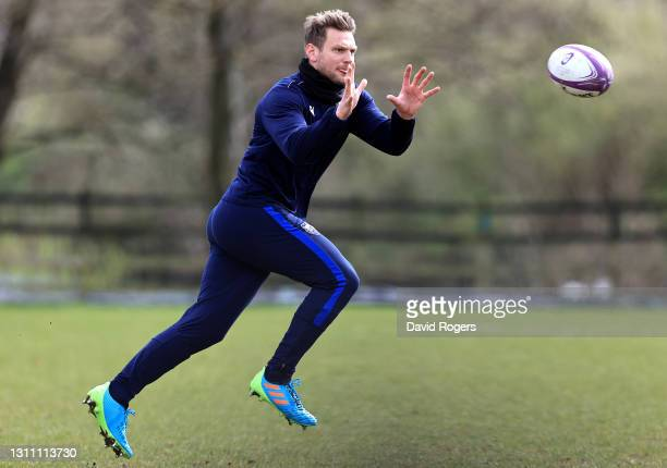 Dan Biggar catches the ball during the Northampton Saints training session held at Franklin's Gardens on April 06, 2021 in Northampton, England.
