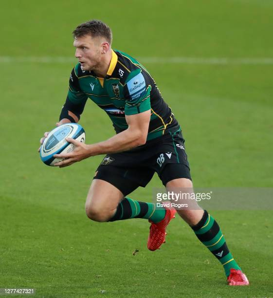 Dan Biggar of Northampton Saints charges upfield during the Gallagher Premiership Rugby match between Northampton Saints and Sale Sharks at...