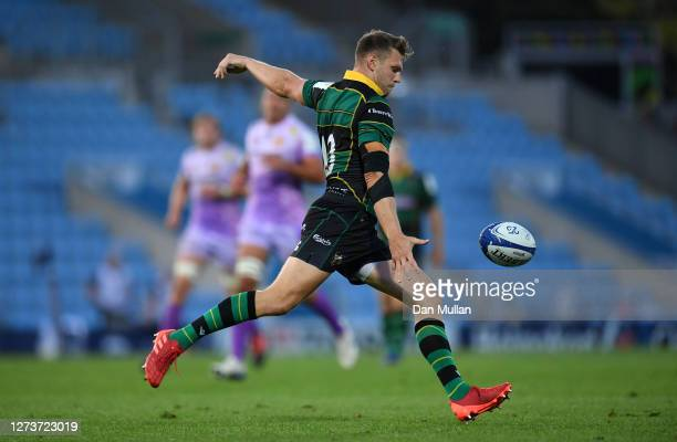 Dan Biggar of Northampton Saints kicks clear during the Heineken Champions Cup Quarter Final match between Exeter Chiefs and Northampton Saints at...