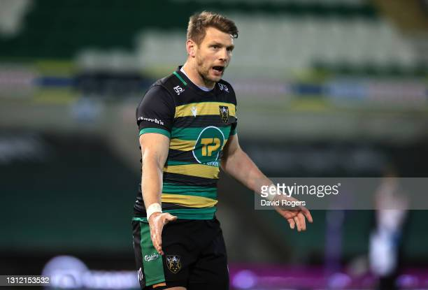 Dan Biggar of Northampton Saints looks on during the European Rugby Challenge Cup, quarter final match between Northampton Saints and Ulster at...