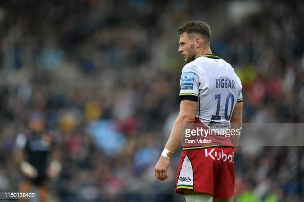 Dan Biggar of Northampton Saints looks on during the Gallagher Premiership Rugby match between Exeter Chiefs and Northampton Saints at Sandy Park on...