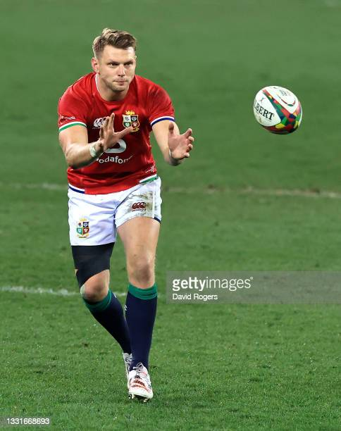 Dan Biggar of the Lions catches the ball during the 2nd test match between South Africa Springboks and the British & Irish Lions at Cape Town Stadium...