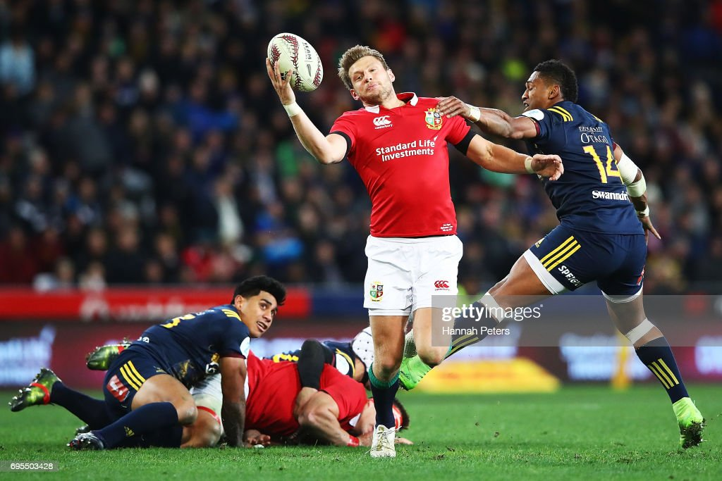 Dan Biggar of the Lions collects the ball during the match between the Highlanders and the British & Irish Lions at Forsyth Barr Stadium on June 13, 2017 in Dunedin, New Zealand.