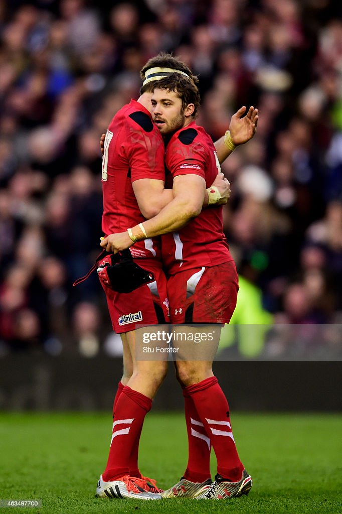 Dan Biggar of Wales and Leigh Halfpenny of Wales celebrate their team's 26-23 victory as the final whistle blows during the RBS Six Nations match between Scotland and Wales at Murrayfield Stadium on February 15, 2015 in Edinburgh, Scotland.