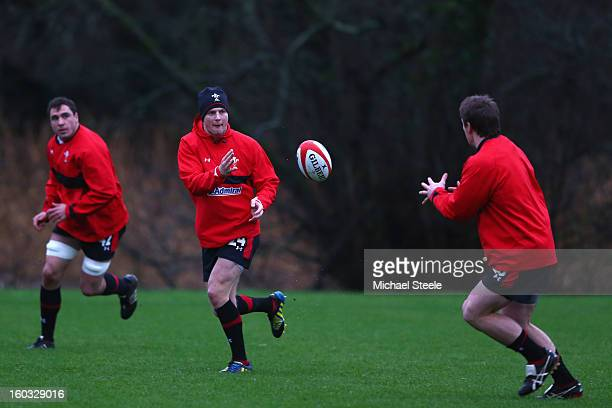 Dan Biggar of Wales during the Wales training session at Vale Resort on January 29 2013 in Cardiff Wales