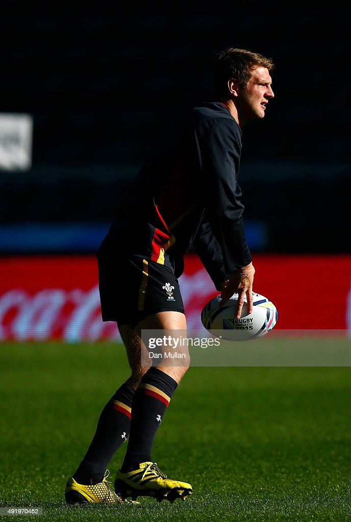 Dan Biggar of Wales in action during the Wales Captain's Run ahead of the 2015 Rugby World Cup Pool A match against Australia at Twickenham Stadium on October 9, 2015 in London, United Kingdom.