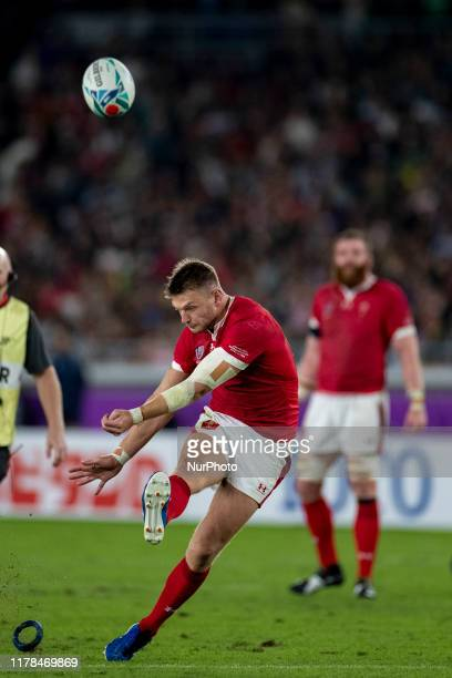 Dan Biggar of Wales kicks a penalty during the Rugby World Cup 2019 SemiFinal match between Wales and South Africa at International Stadium Yokohama...