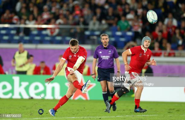 Dan Biggar of Wales kicks a penalty during the Rugby World Cup 2019 SemiFinal match between Wales and South Africa at International Stadium Yokohama...