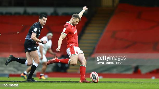 Dan Biggar of Wales kicks the ball upfield during the Guinness Six Nations match between Wales and England at Principality Stadium on February 27,...