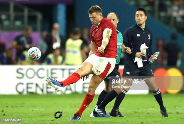 Dan Biggar of Wales kicks the winning conversion during the Rugby World Cup 2019 Quarter Final match between Wales and France at Oita Stadium on...