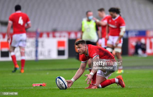 Dan Biggar of Wales lines up a penalty during the Guinness Six Nations match between France and Wales at Stade de France on March 20, 2021 in Paris,...