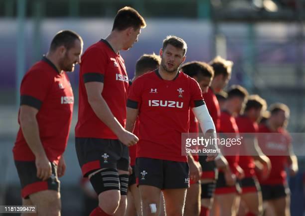 Dan Biggar of Wales warms up during a training session at Noguchibaru General Sports Ground on October 16 2019 in Beppu Oita Japan