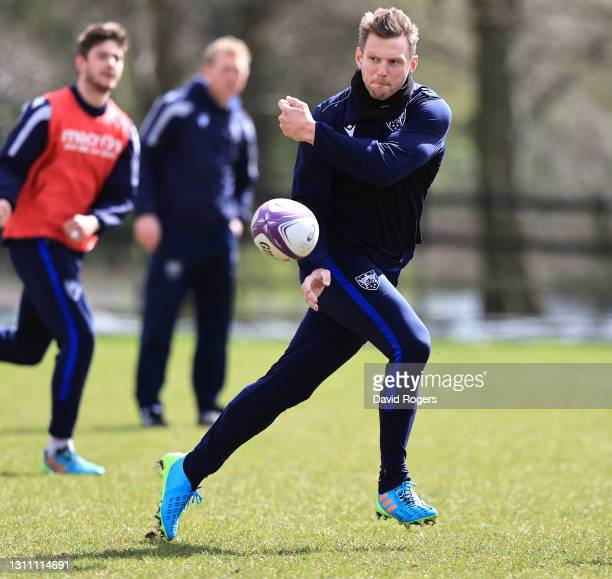 Dan Biggar passes the ball during the Northampton Saints training session held at Franklin's Gardens on April 06, 2021 in Northampton, England.