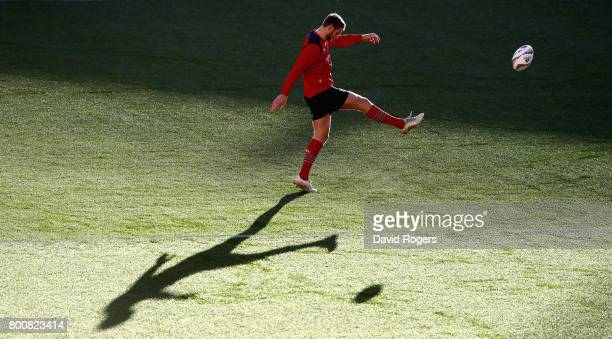 Dan Biggar practices his kicking during the British Irish Lions kicking session held at the Westpac Stadium on June 26 2017 in Wellington New Zealand