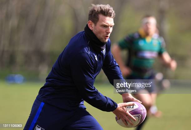 Dan Biggar runs with the ball during the Northampton Saints training session held at Franklin's Gardens on April 06, 2021 in Northampton, England.