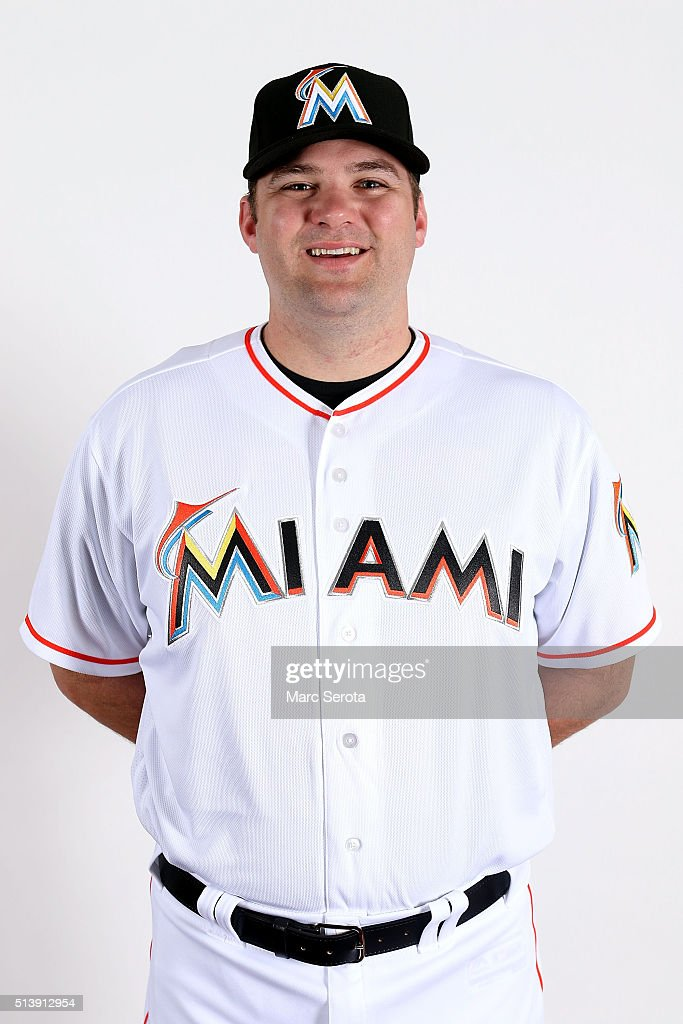 Dan Black of the Miami Marlins poses for photos on media day at Roger Dean Stadium on February 24, 2016 in Jupiter, Florida.