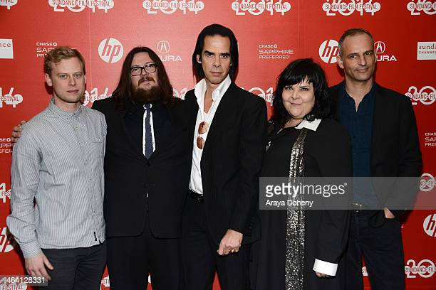 "Dan Bowen, Iain Forsyth, Nick Cave, Jane Pollard and James Wilson attend the ""20,000 Days On Earth"" premiere at Egyptian Theatre on January 20, 2014..."