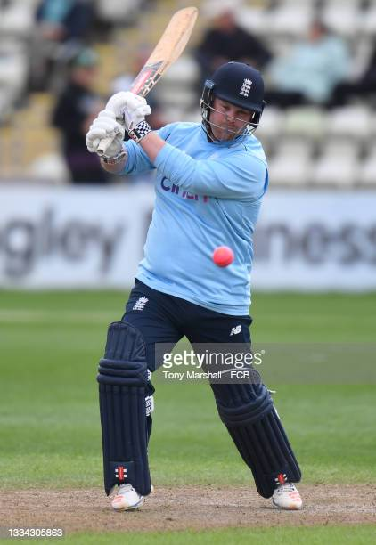 Dan Bowser of England bats during the England Disability T20 match at New Road on August 08, 2021 in Worcester, England.