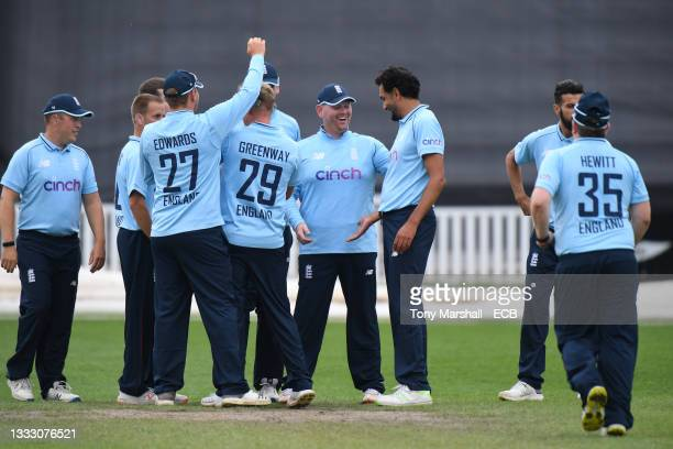 Dan Bowser of England celebrates catching out Ali Layard of England during the England Disability T20 at New Road on August 08, 2021 in Worcester,...