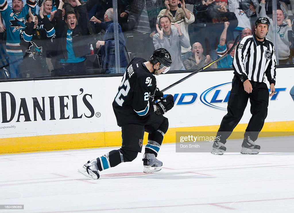 Dan Boyle #22 of the San Jose Sharks celebrates his shootout goal against the Edmonton Oilers during an NHL game on January 31, 2013 at HP Pavilion in San Jose, California.