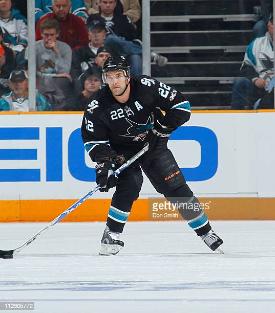 Dan Boyle of the San Jose Sharks handles the puck against the Los Angeles Kings in Game One of the Western Conference Quarterfinals during the 2011...