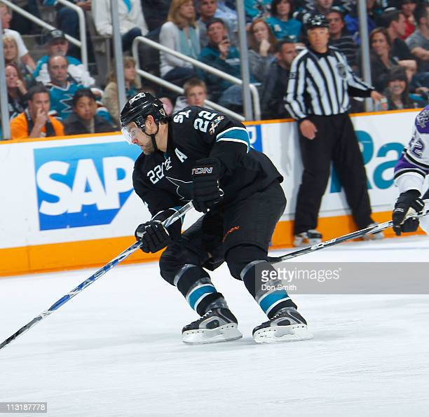 Dan Boyle of the San Jose Sharks handles the puck against the Los Angeles Kings in Game 5 of the Western Conference Quarterfinals during the NHL...