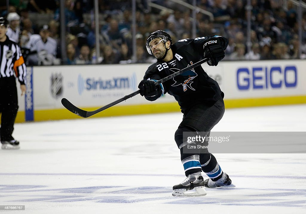 Dan Boyle #22 of the San Jose Sharks in action against the Los Angeles Kings in Game Two of the First Round of the 2014 NHL Stanley Cup Playoffs at SAP Center on April 20, 2014 in San Jose, California.