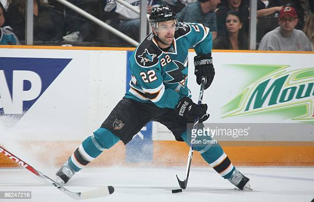 Dan Boyle of the San Jose Sharks moves the puch through traffic during Game Two of the Western Conference Quarterfinal Round of the 2009 Stanley Cup...