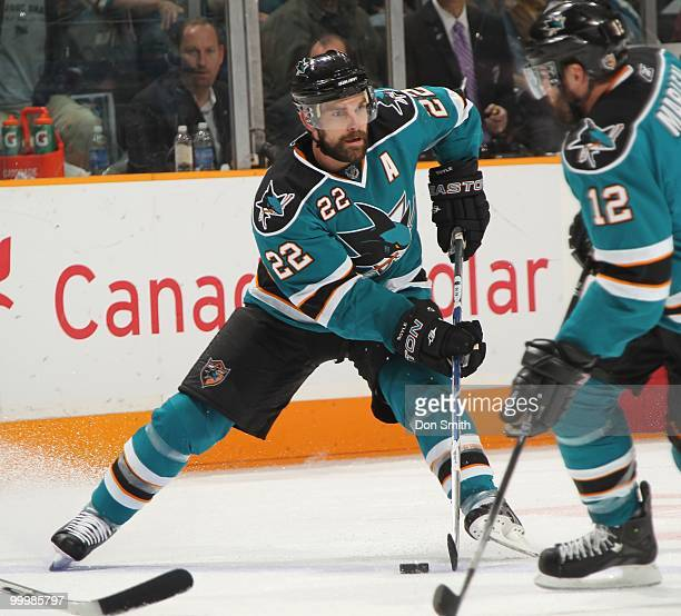 Dan Boyle of the San Jose Sharks moves the puck through traffic in Game One of the Western Conference Finals during the 2010 NHL Stanley Cup Playoffs...