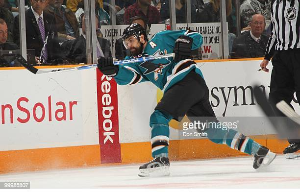 Dan Boyle of the San Jose Sharks shoots from the point in Game One of the Western Conference Finals during the 2010 NHL Stanley Cup Playoffs against...