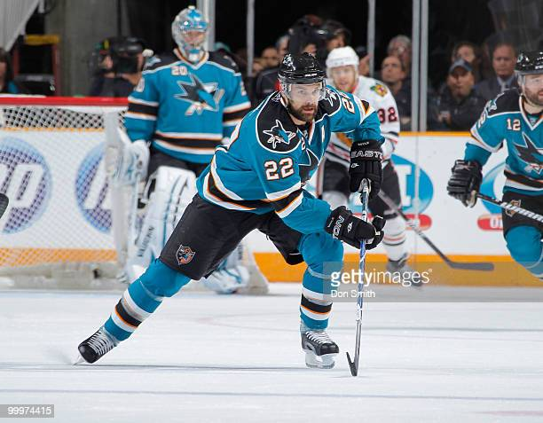 Dan Boyle of the San Jose Sharks skates up ice in Game Two of the Western Conference Finals during the 2010 NHL Stanley Cup Playoffs vs the Chicago...