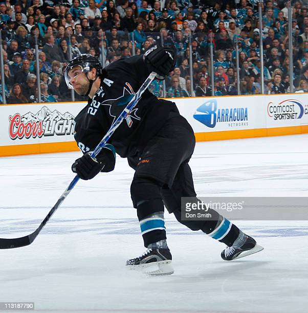 Dan Boyle of the San Jose Sharks takes a shot against the Los Angeles Kings in Game 5 of the Western Conference Quarterfinals during the NHL Stanley...