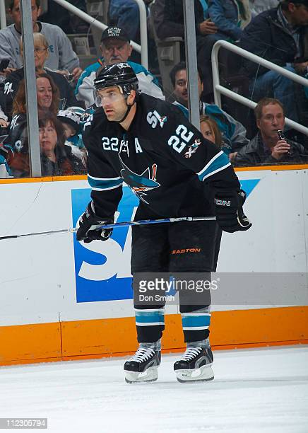 Dan Boyle of the San Jose Sharks waits for the faceoff against the Los Angeles Kings in Game One of the Western Conference Quarterfinals during the...