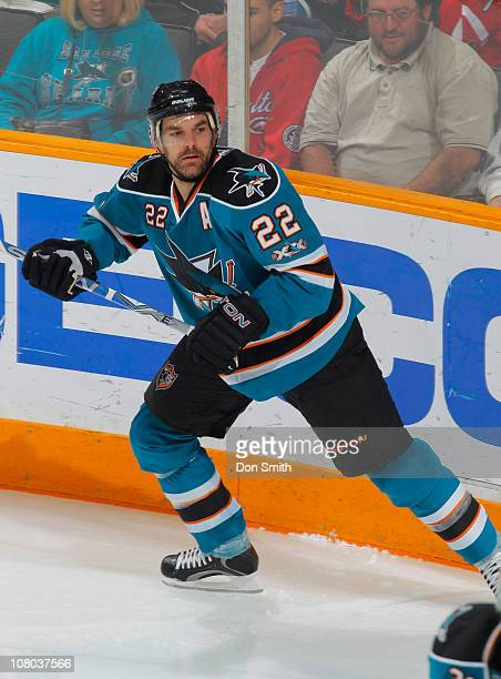 Dan Boyle of the San Jose Sharks watches play against the Toronto Maple Leafs during an NHL game on January 11, 2011 at HP Pavilion at San Jose in...