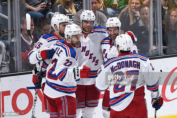 Dan Boyle Tanner Glass Viktor Stalberg Dominic Moore and Ryan McDonagh of the New York Rangers celebrate during a game against the Los Angeles Kings...