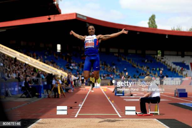 Dan Bramble of Great Britain competes in the Men's Long Jump Final during day two of the British Athletics World Championships Team Trials at...