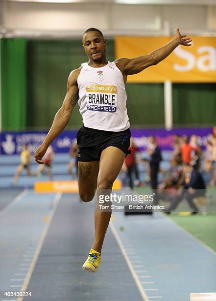 Dan Bramble of Great Britan in action in the mens long jump during day 1 of the Sainsbury's Indoor British Championships at the English Institute of...