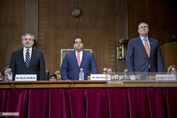 Dan Brouillette deputy secretary of energy nominee for US President Donald Trump from left Neil Chatterjee and Robert Powelson nominees to be a...