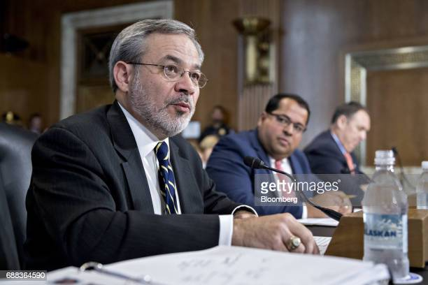 Dan Brouillette deputy secretary of energy nominee for US President Donald Trump speaks during a Senate Energy and Natural Resources Committee...
