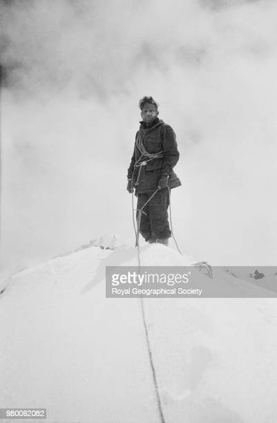Dan Bryant roped at top of a snow peak Tibet 30 May 1935 Mount Everest Expedition 1935